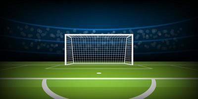fotboll eller fotbollsstadion med mål från straffposition
