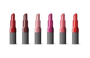Satz verschiedenfarbiger realistischer Lippenstifte