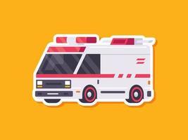 Krankenwagenaufkleber im flachen Stil