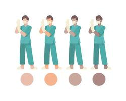 manliga kirurgiska läkare karaktärer sätta på handskar vektor