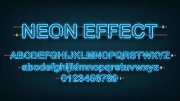 blaues Neonlicht englisches Alphabet und Zahlen vektor