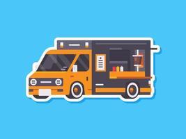 Food Truck Aufkleber im flachen Stil. Vektor Food Truck Illustration