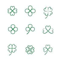 gröna klöver blad linje ikoner