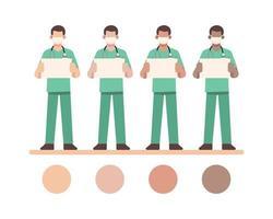 maskierte männliche Krankenschwestercharaktere, die leere weiße Tafel halten