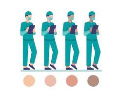 maskierte männliche Krankenschwesterfiguren, die auf Zwischenablage schreiben