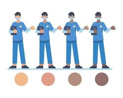 männliche Krankenschwesterfiguren, die Gesichtsmasken tragen