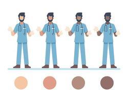 männliche Arztcharaktere, die Stethoskop tragen