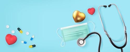 stetoskop och ansiktsmask med hjärtan på ljusblått