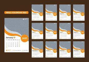Satz von 12-Monats-Wandkalendervorlagen für 2021