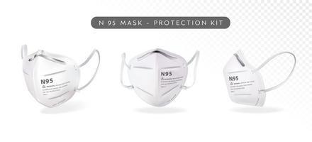 realistisches n95 Maskenset vektor