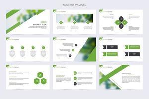 Kreative Diashow-Elemente in Grün, Weiß und Schwarz