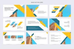 blaue und gelbe kreative Präsentationsvorlage vektor