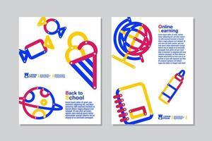 tillbaka till skolan, online lärande vit flygblad set
