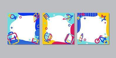 tillbaka till skolan, online-lärande fyrkantig banneruppsättning