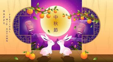 Happy Mid Autumn Festival Design mit Kaninchen und Früchten