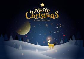 Frohe Weihnachten und ein gutes neues Jahr Winterlandschaft vektor