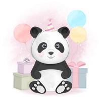 Panda und Geschenkboxen mit Luftballons