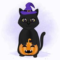 Katze mit Hexenhut und Kürbis