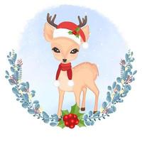 rådjur och krans jul akvarell stil design vektor