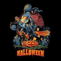 halloween häxa flyger med en kvast vektor