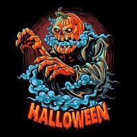 Halloween-Zombie mit einem mit Rauch gefüllten Kürbiskopf