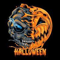 Halloween halb Kürbis halb Schädel Design vektor
