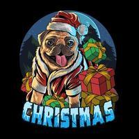 Mops Hund trägt Weihnachtsmann Hut