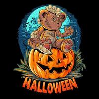 Halloween Teddybär mit Messer auf Kürbis sitzen