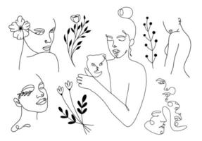lineare weibliche Porträts mit Katzen- und Blumenelementen