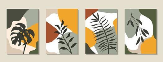 Satz von Plakaten mit tropischen Blättern und abstrakten Formen