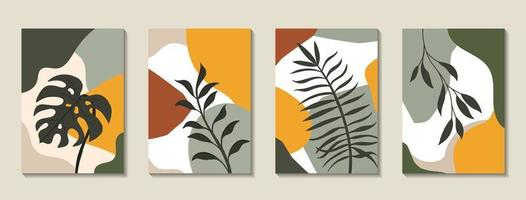 uppsättning affischer med tropiska löv och abstrakta former vektor