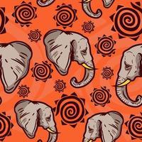 indisches und afrikanisches Kulturmuster mit Elefanten