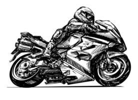 Zeichnung des Motorradfahrers isoliert Hand gezeichnet vektor