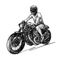 Zeichnung der Motorradfahrer isoliert Hand gezeichnet