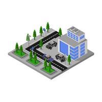 isometrische Polizeistation mit Straßendesign