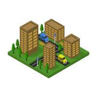 Design der isometrischen braunen Gebäude der Stadt