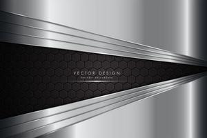 silvermetallisk bakgrund med kolfiber vektor