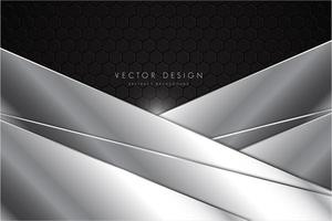 grå och silvermetallbakgrund med månghörniga lager vektor