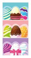 uppsättning dekorerade påskägg