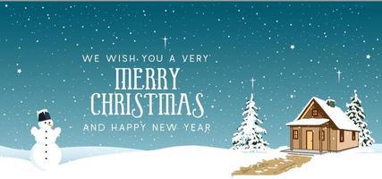 Weihnachtslandschaftsentwurf mit Haus und Schneemann