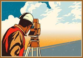 Ingenieur Surveyor misst die Straße vektor