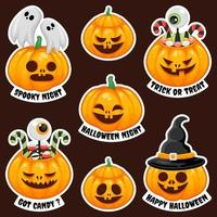 jack o 'lantern halloween klistermärkesamling vektor