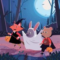 Kinder gehen in der Halloween-Nacht Süßes oder Saures