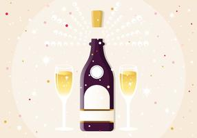 Nyår Champagne Vector Illustration