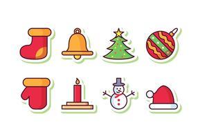 Gratis julklistermärke ikonuppsättning vektor