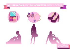 Mujer Icons Und SIlhouettes Free Vector