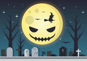 Spöklik Moon Halloween Vector