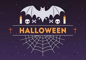 Halloween Spindel och Bat Vektor Illustration