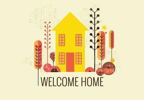 Retro Style Willkommen Home Vector