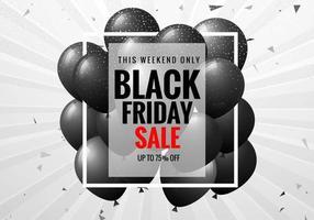 schwarzes Freitag-Verkaufsplakat mit Luftballons und Konfetti
